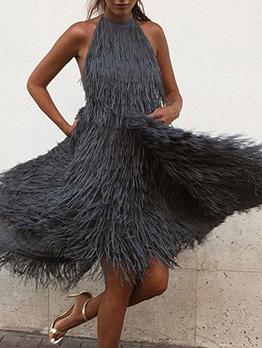 Sexy Backless Flowy Tassel Solid Halter Dress