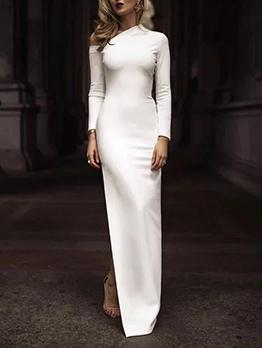 Elegant Inclined Shoulder Slim White Maxi Dresses