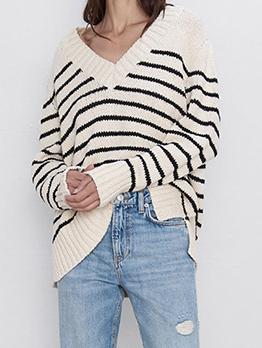 British Style Striped V Neck Sweater