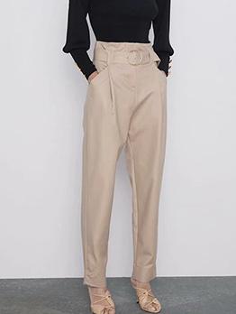 British Style High Waist Solid Loose Ladies Pant
