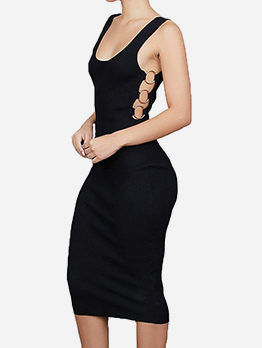 U Neck Metal Rings Sleeveless Bodycon Dress