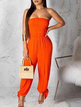 Strapless Backless Solid Bow Wide Leg Jumpsuit