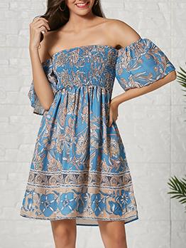 Bohemian Off Shoulder Short Sleeve Dress