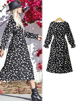 Euro Hot Sale Long Sleeve Floral Midi Dress