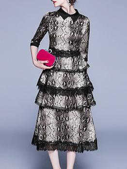 Snake Printed Lace Detail Ladies Dress