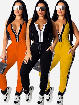 Patchwork Sleeveless Zipper Up Womens Sportswear