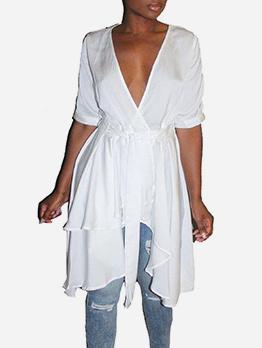 Deep v Neck Irregular Hem White Wrap Dress