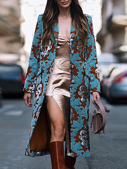 British Style Printed Long Sleeve Long Coat
