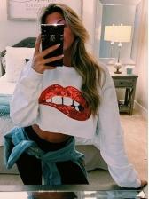 Crew Neck Sequined Lips Long Sleeve Cropped Sweatshirt