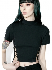 Solid Lace Up Cropped T Shirts For Women