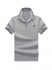 Daily Line Patchwork Short Sleeve Polo Shirt
