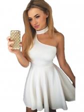 Solid Off Shoulder Empire Waist Sleeveless Dress
