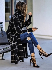 Euro Style Hooded Plaid Long Winter Coat