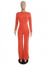 Solid Backless Elastic Waist Ladies Jumpsuits