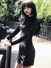 Vintage Suede Cheongsam Design Long Sleeve Dress