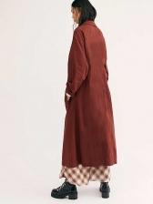Lapel Collar Solid Long Sleeve Long Coat