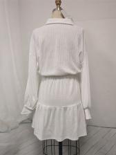 Turndown Down Collar Solid Long Sleeve Dress
