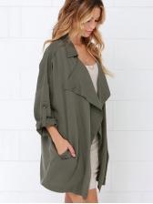 Casual Three Quarter Sleeve Solid Long Coat