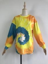 Multicolored Crew Neck Long Sleeve Sweatshirt