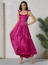 Stylish Solid Irregular Shoulder Strap Maxi Dresses