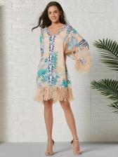 Bohemian Printed Tassels Patchwork Ladies Dress