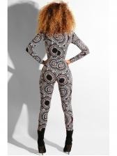 Vintage Printed Zipper Up Slim Women Jumpsuit