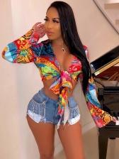 Tie Dye Bow Cropped Top Ladies Blouse