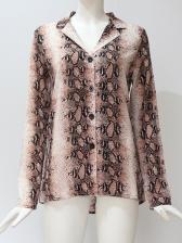 Trendy Single-Breasted Snake Printed Ladies Shirt