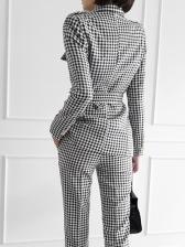 Ol Style Smart Waist Plaid Two Piece Suit