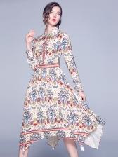 Exquisite Printed Irregular Hem Maxi Shirt Dress