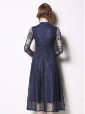 Stand Neck Smart Waist Long Sleeve Lace Dress