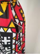 Geometric printing V Neck long coat