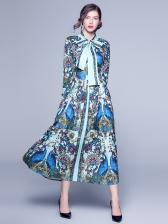 Exquisite Printed Fitted Tie Neck Maxi Pleated Dress
