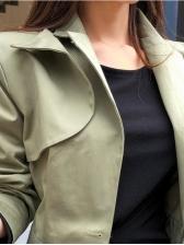 Korean Style Solid Color Lapel Women Short Coat