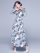 Elegant Exquisite Printed Fitted Maxi Shirt Dress