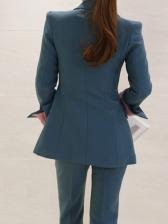 Pure Color Smart Waist Straight Suit For Ladies