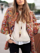Vintage Printed Long Sleeve Coats For Women