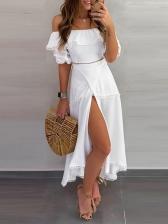 Elegant Solid Split Off Shoulder Midi Dresses