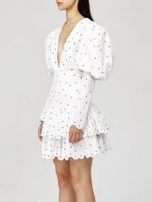 Deep V Neck Puff Sleeve Polka Dots Dress