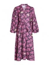 Boutique V Neck Lantern Sleeve Floral Maxi Dress