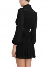 Boutique V Neck Lantern Sleeve Draped Long Sleeve Dress