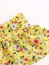 Boat Neck Floral Short Sleeve Dress