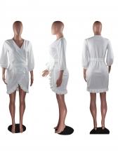Ruffled Detail Solid Long Sleeve Dress