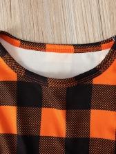 Halloween Plaid Top Suspender Skirt Girls Clothes