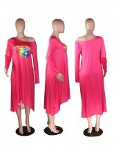 Crew Neck Printed Long Sleeve t-Shirt Dress