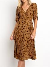V Neck Dots Printed Wrap Dress For Women