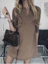 Minimalist Notch Collar Cotton Long Sleeve Dress