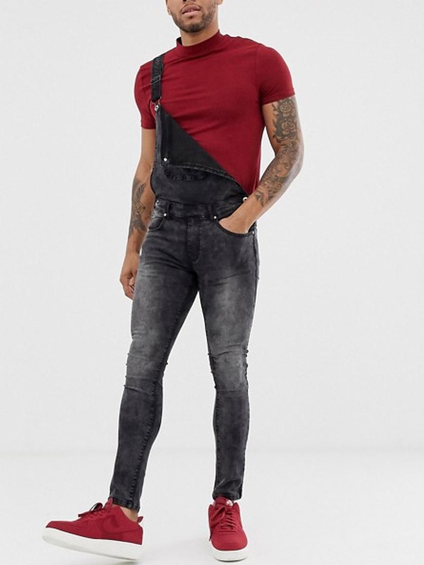 Fashion Pockets Skinny Men Denim Overalls
