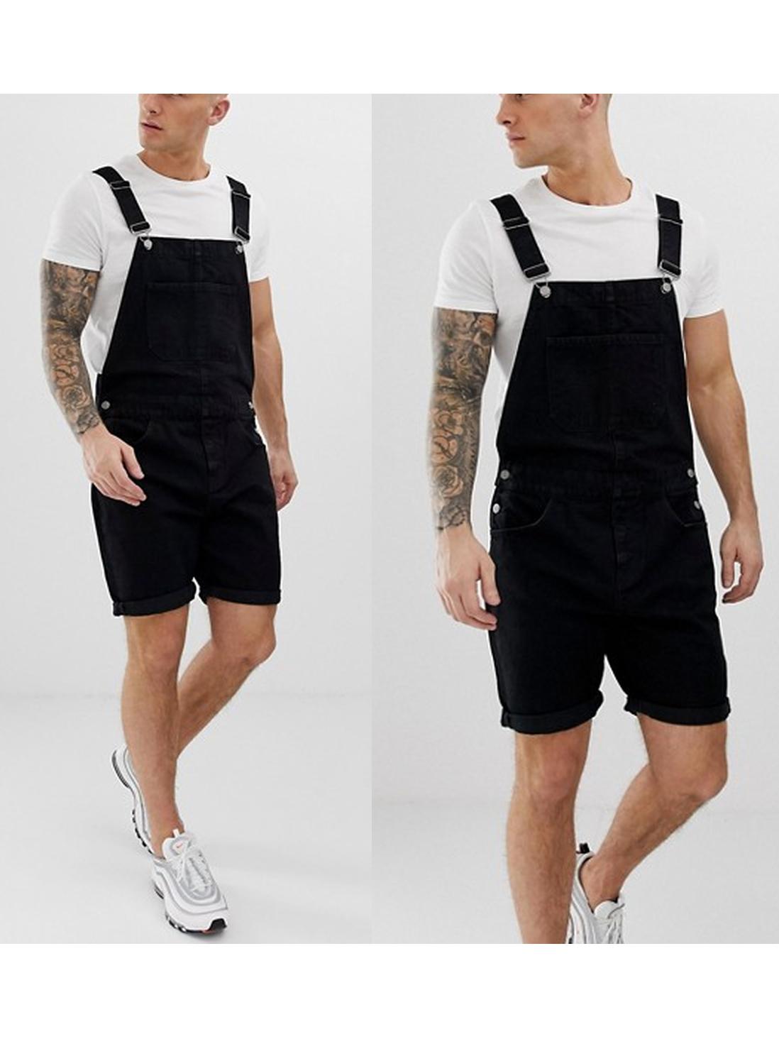 Adjustable Straps Men Short Black Overalls