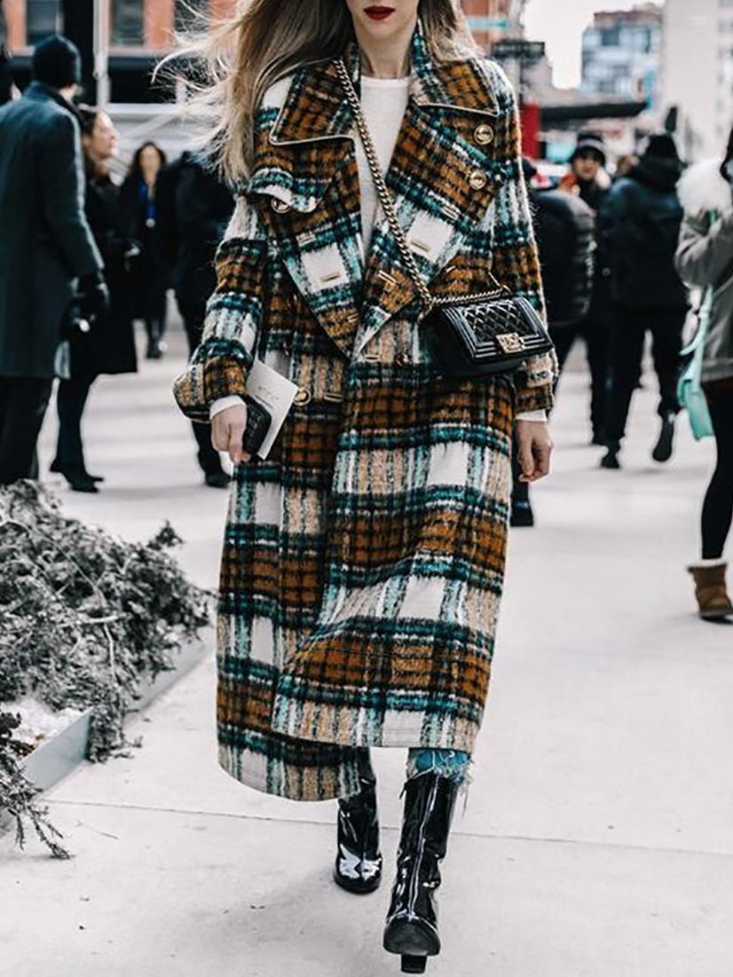 Plaid Long Sleeve Loose Long Coat